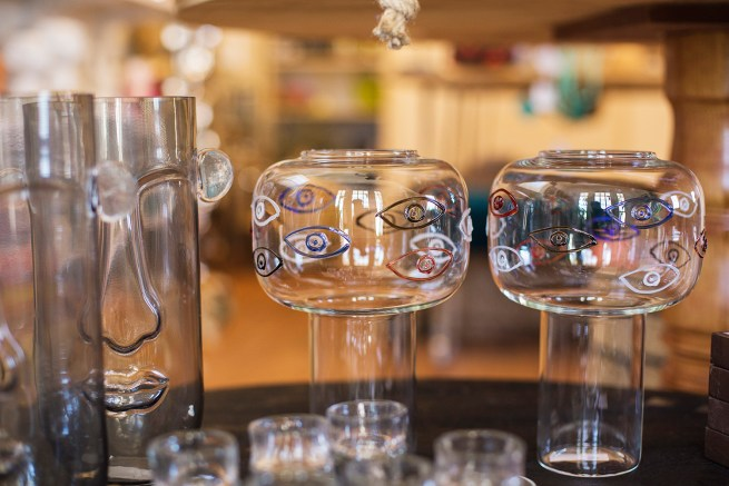 smokey glass face vase