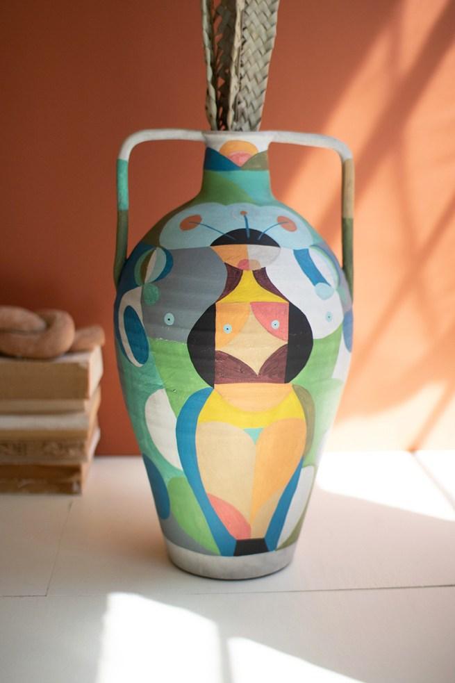 Ceramic Multi-Colored Urn