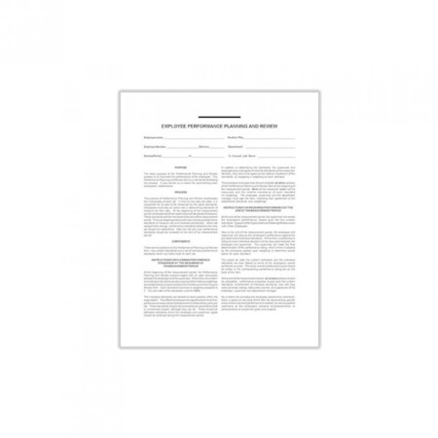 Employee Performance Planning and Review Form #1012 (2