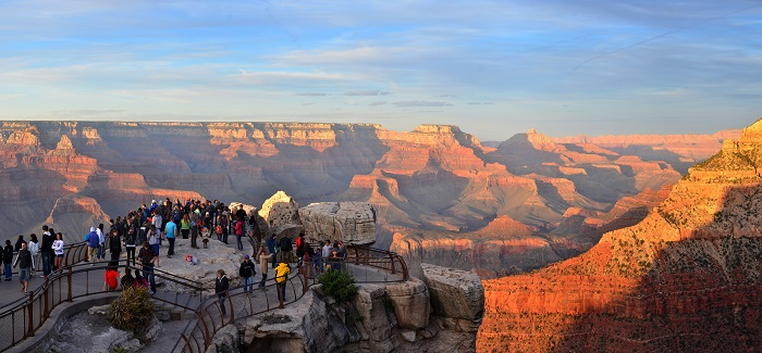 A short walk or free shuttle bus ride from the main parking areas at Grand Canyon Visitor Center, Mather Point provides a spectacular view of Grand Canyon. 2010 improvements included a new accessible path to the overlook, an auto-free approach, and an updated guardrail system. The improvements provide a safer, more enjoyable experience to visitors of all abilities. NPS/M.Quinn