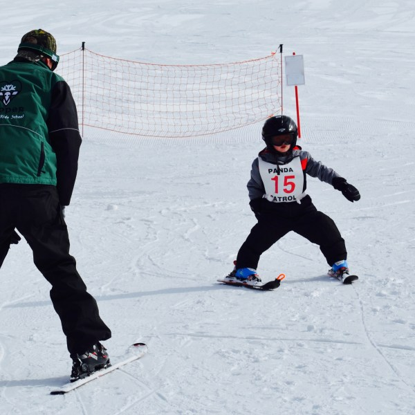 A toddler skiing with his instructor on a slope covered in white snow.