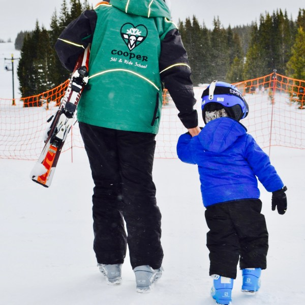 My youngest son at 3 yo with his instructor at Ski Cooper in Leadville, Colorado. 6 Reasons to Love Ski Cooper | whitswildtribe.com