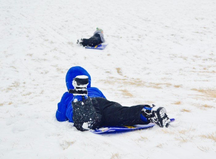 Two toddlers sledding down a snowy hill.