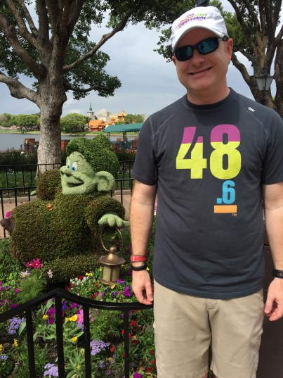 Dopey Topiary with my Dopey shirt and hat on
