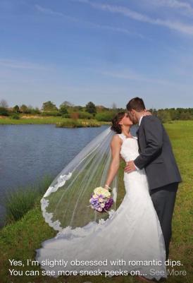 Wedding kiss by pond