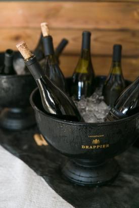 Wedding Champagne in Barn