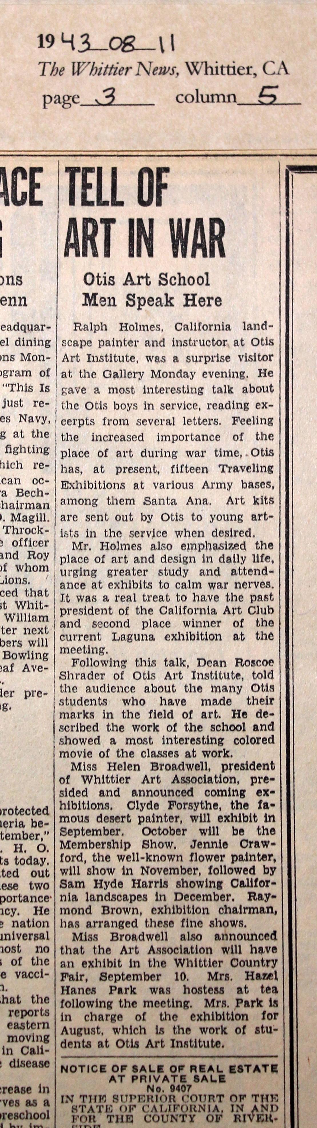 1943_08_11 WN Otis- Tell of Art in War edited