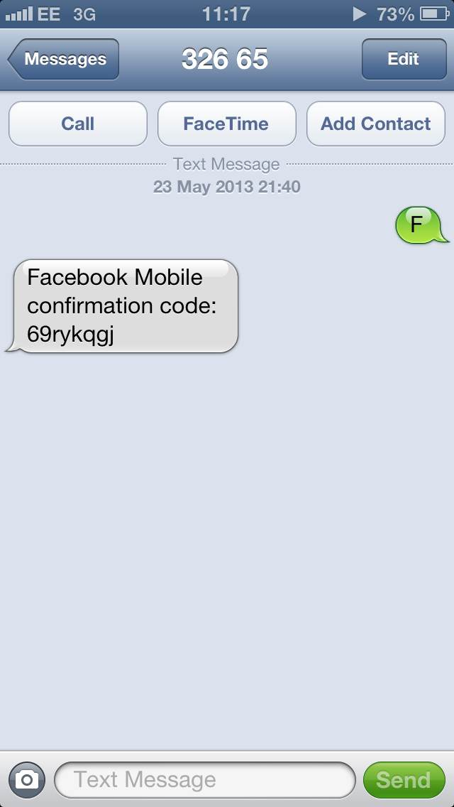 Facebook Confirmation Code 32665 Text