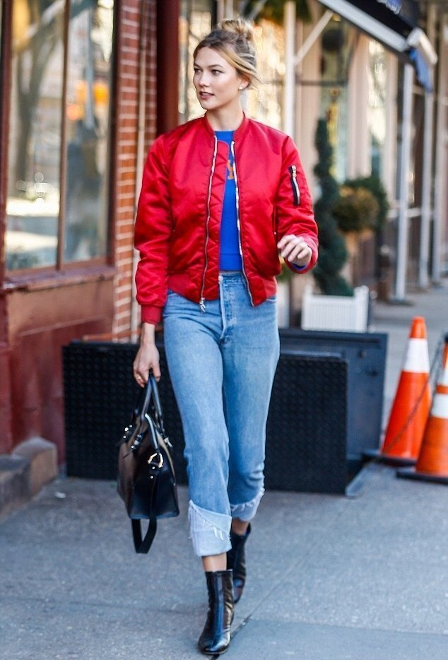 Karlie-Kloss-NYC-UNRAVEL-FWRD-Exclusive-Red-Bomber-Jacket-and-By-Far-Neva-Frontal-Zip-Black-Ankle-Boots-10