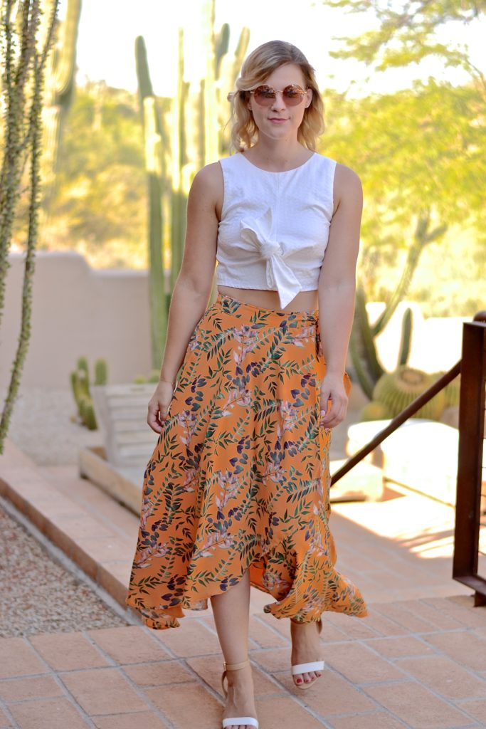 white crop top and wrap skirt