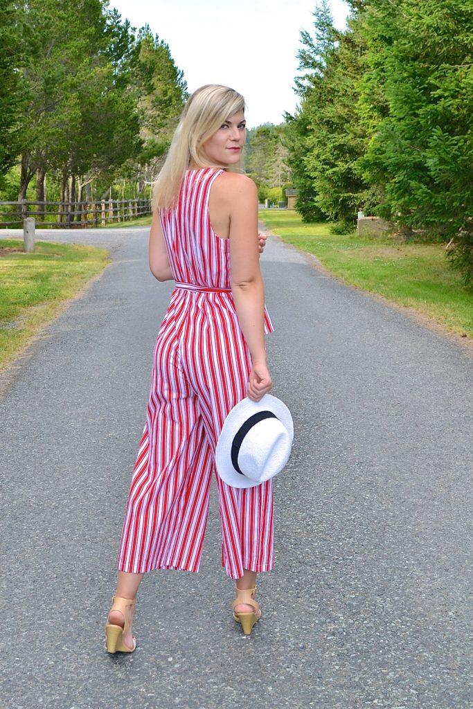 striped jumpsuit hat