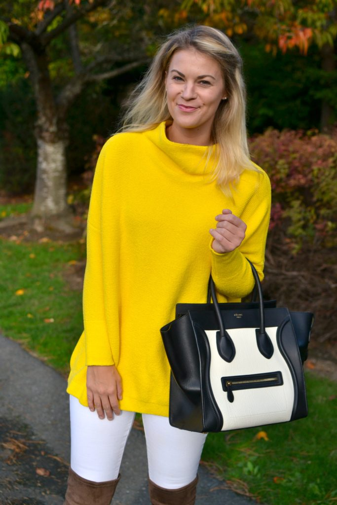 yellow sweater and celine