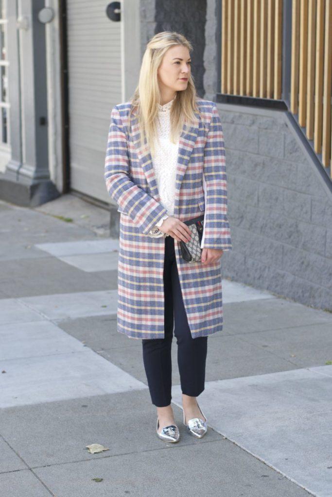 plaid coat for work
