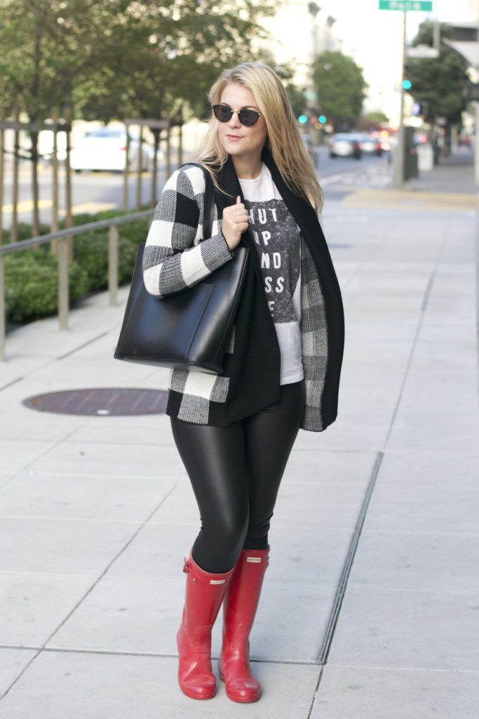 plaid cardigan hunter boots