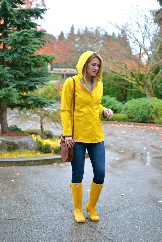 yellow hunter boots rain coat