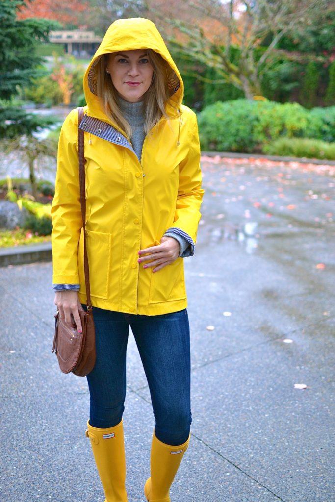 yellow raincoat rainy day