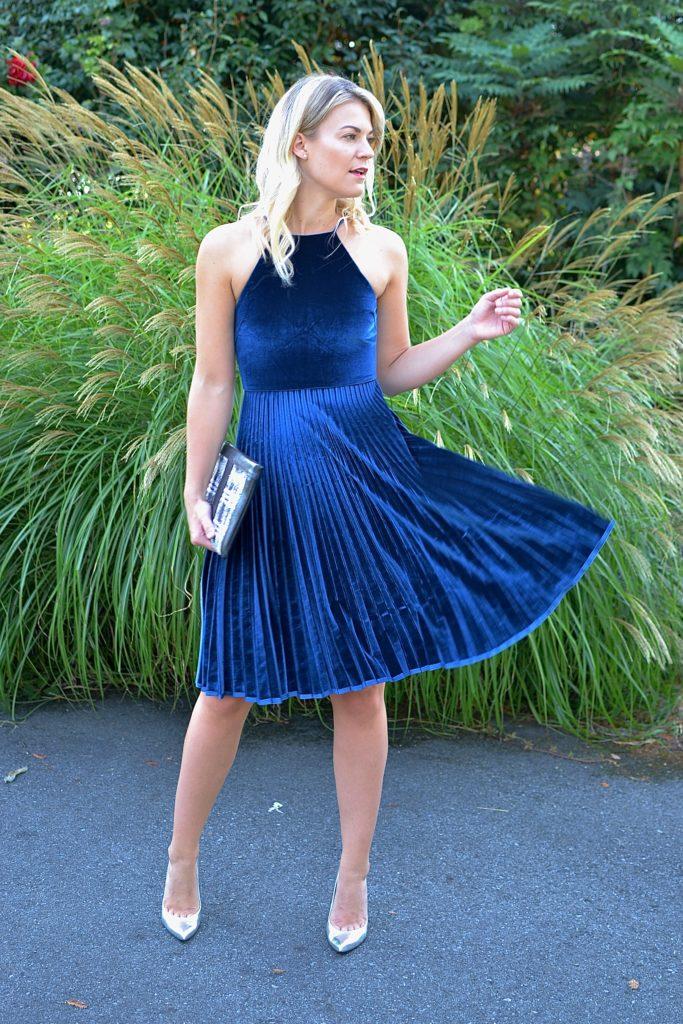 velvet fit and flare dress