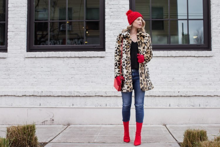 leopard winter style red ankle boots