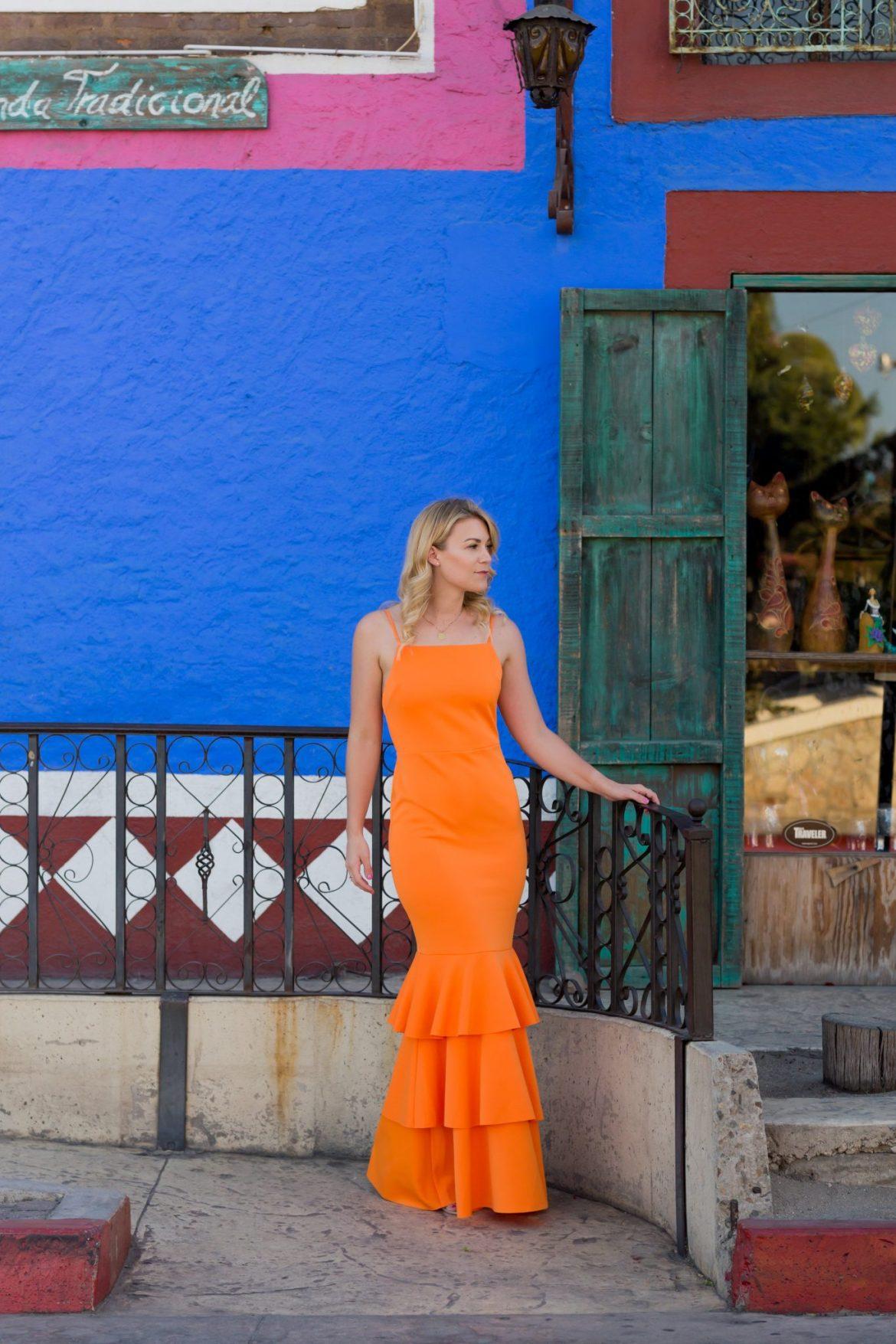 monochromatic ruffle gown