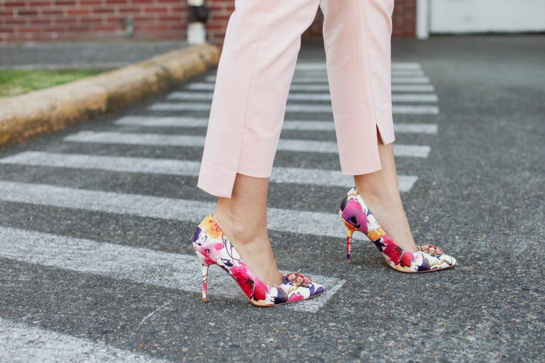 floral high heels pink suit