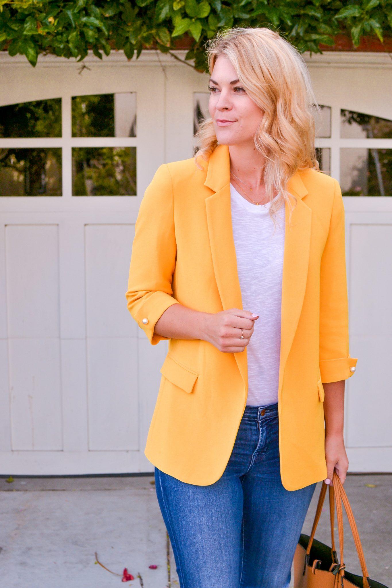 yellow blazer fashion outfit