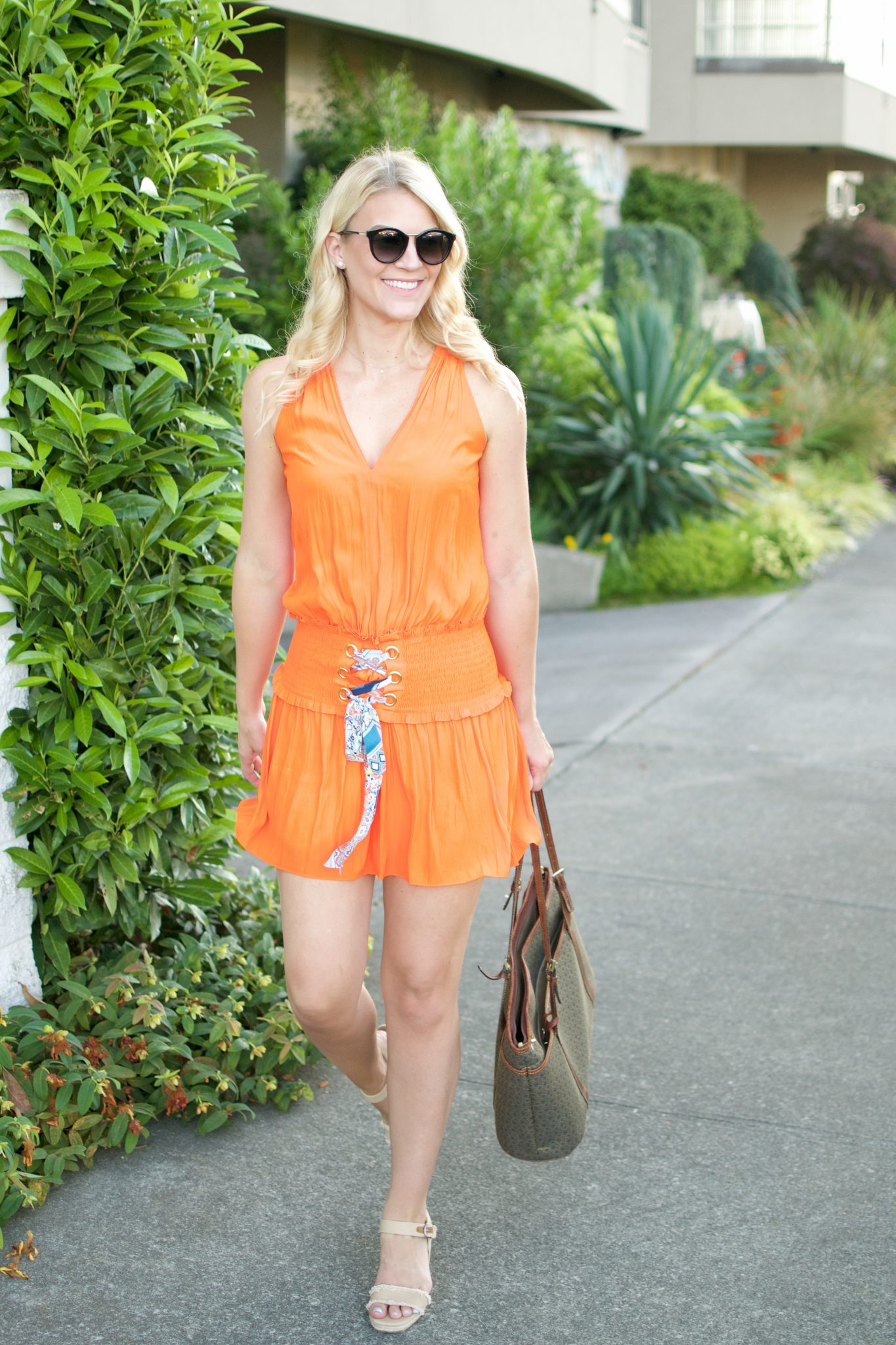 Tropical Orange Mini-Dress