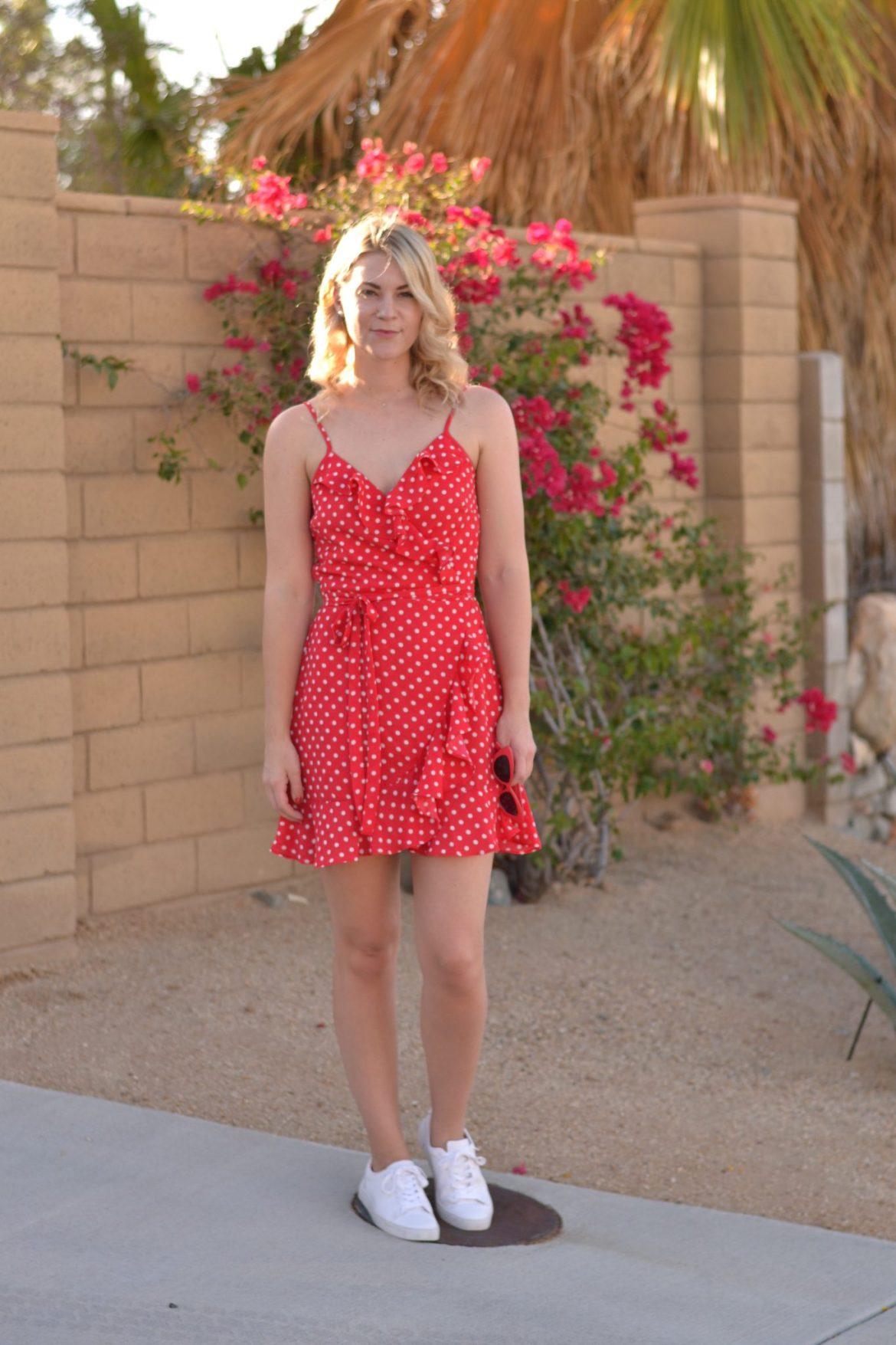 summer dress red polka dot