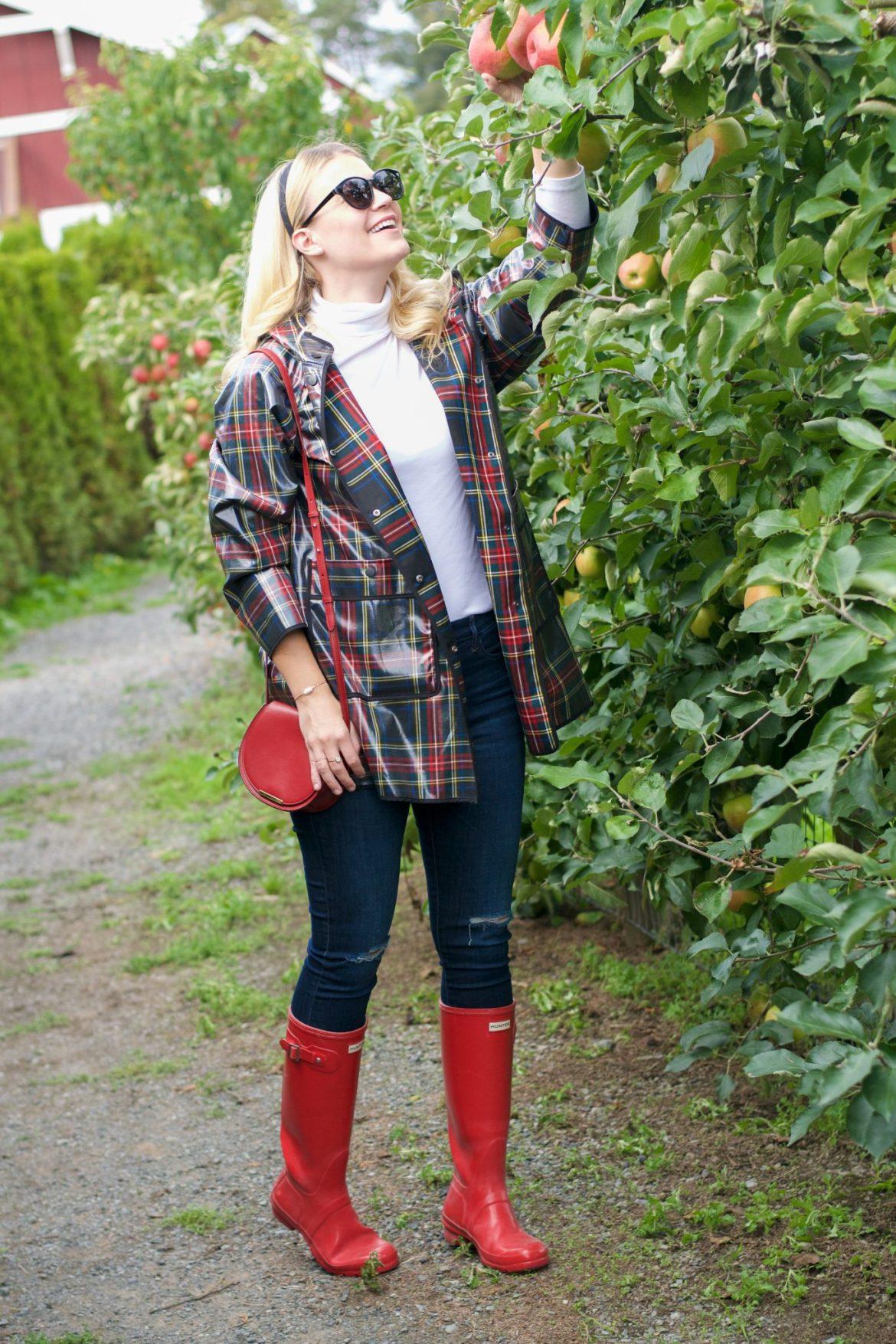 plaid raincoat apple picking hunter boots