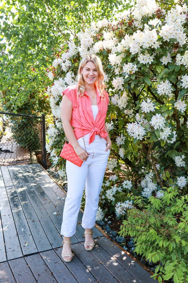 How To Wear Overalls in Summer, tips featured by top Seattle fashion blogger, Whit Wanders: image of a tall blonde woman wearing Free People white overalls.