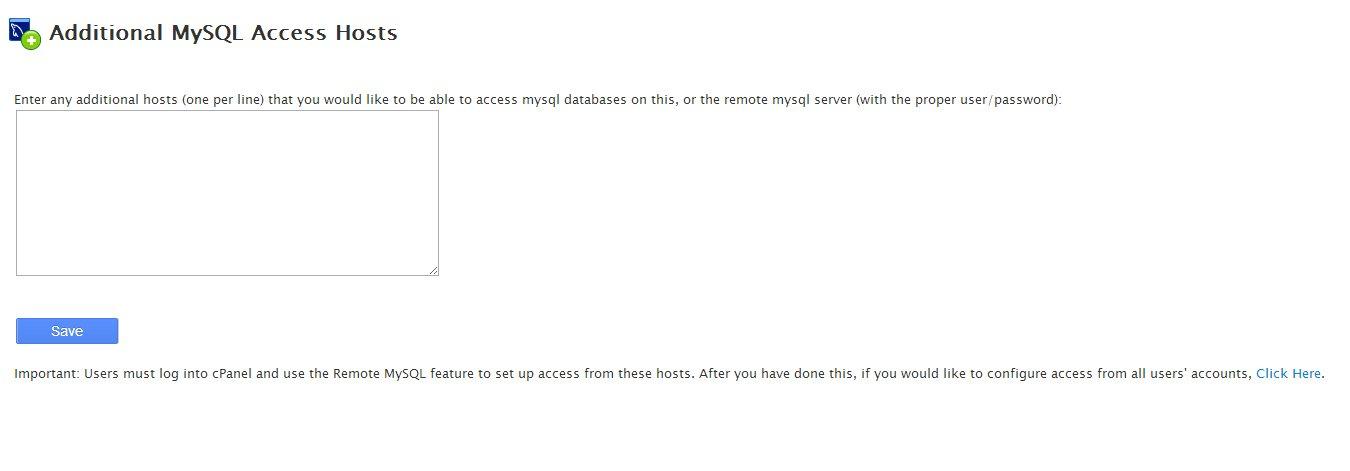 Additional MySQL Access Hosts WHM