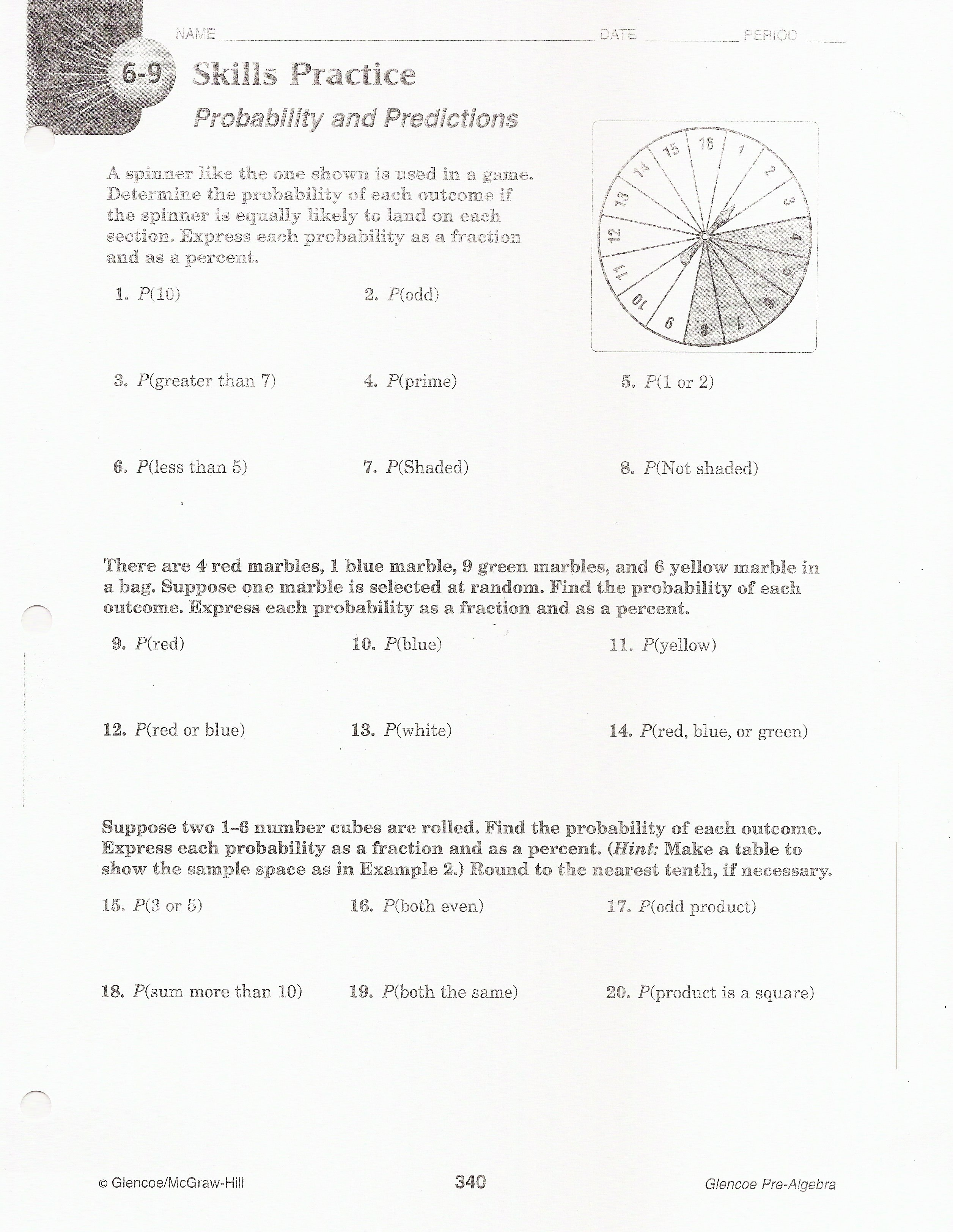 Worksheet Probability And Odds Worksheet Grass Fedjp Worksheet Study Site