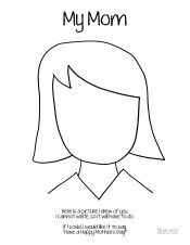 Mother's Day Coloring Page Mom Medium Hair Who Arted
