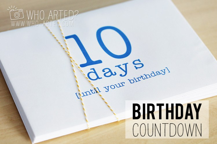 Birthday Countdown Envelope Who Arted 00