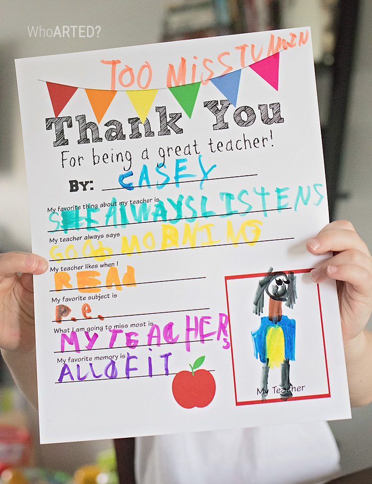 Teacher Appreciation Thank You Card {Free Printable}
