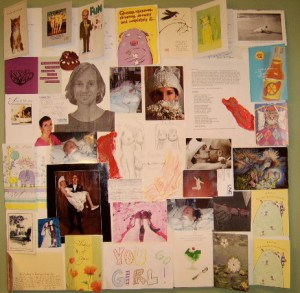 Collage of photos, drawings, get well cards, and magazine images exploring Ann Millett-Gallant's body, marriage, and healing.