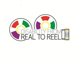 Disability From Real to Reel festival logo with brightly colored film reels and camera lens.