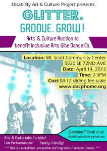 Inclusive Arts Vibe Dance Company fundraiser flyer. The flyer has a picture of the dancers digitally manipulated so the dancers are green and have green balls of energy jumping from their upraised hands. The text is in purple on white background, white on purple background, or black on yellow background giving details of the event.
