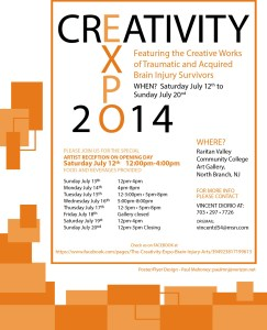"A white background and various orange rectangles decorating the edges. Text includes location, contact information, show dates and times, and the title. ""Creativity Expo 2014. Featuring the Creative Works of Traumatic and Acquired Brain Injury Survivors."""