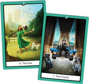 The Portland Tarot images of Cynthia and Cheryl. Cynthia is The Chariot, sitting on the hood of her floating blue car, flanked by her dog Charlie. Cheryl is The Fool, happily tripping toward a cliff with a bike helmet and a flower.