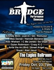 Flyer for The Bridge Performance showcase with performers names, contact info, and image of a bridge at sunset.