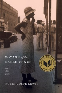 "Cover of ""Voyage of the Sable Venus and other poems"" shows a street scene, early 1900s. A black woman in a hat window shops, and black men in hats socialize."