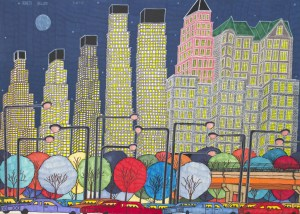 Highly detailed and brightly-colored painting of skyscrapers towering above streetlights, multi-colored, orb-like trees, and traffic.