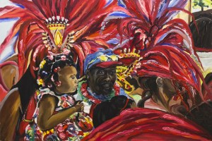 Painting of a black man in ball cap holding a toddler with a flowered dress and colored barrettes in her braids. They're surrounded by rich, vibrant colors of Carnival dancers in feathered headdresses and other parade goers.