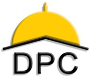 "Disability Policy Consortium logo has ""DPC"" under a yellow capitol dome."