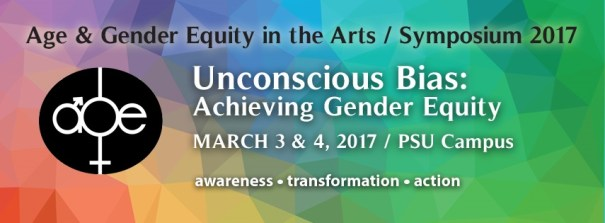 Unconscious Bias Symposium image with dates, location, and awareness, transformation, action. Background is interlocking shapes across the colors of the rainbow.