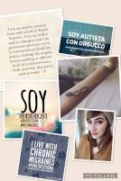 Collage includes portrait of Sara Acevedo in a soft brown sweater and knit hat, Neurowitch forearm tattoo, statements of identity and ending stigma, and images in English and Spanish of Autistic Pride, Neurodivergence, and chronic migraine.