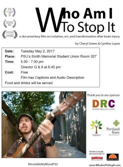 Flyer for May 2nd screening at PSU has screening details, logos of the sponsor DRC and logos for PSU and Diversity & Multicultural Student Services, The Hollywood Theatre, and New Day Films. There's a picture of Brandon Scarth sitting outside on a sunny day, singing and playing acoustic guitar.