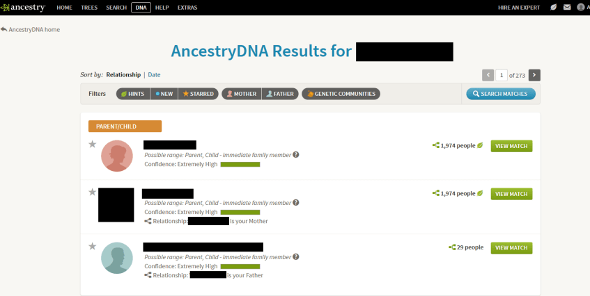 Ancestry DNA Match Example
