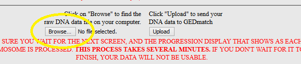 How to browse for raw dna file