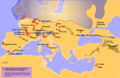 Where Neanderthal fossils have been found